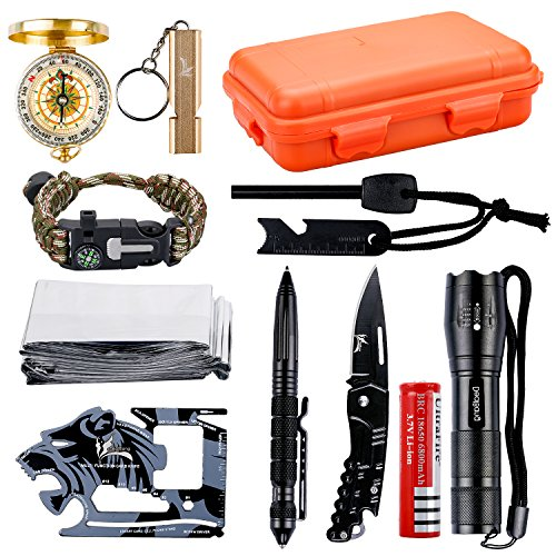 OUTDRSY Wildness Survival Gear Kit with 18-in-1 Versatile Tool Card/Military Flashlight/Paracord Bracelet/Emergency Blanket/Tactical Pen/Compass/Fire Starter/Metal Whistle for Hiking/Camping