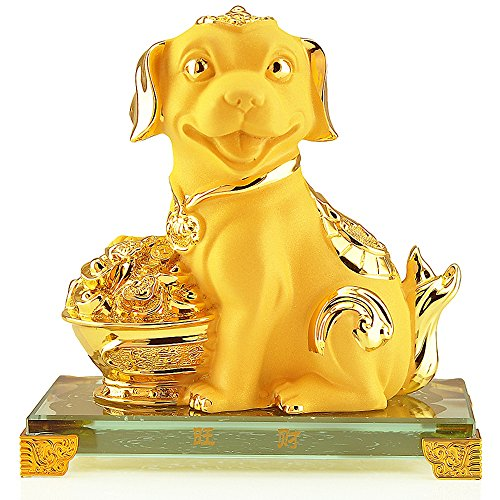 Large Resin Figurine (2018 Chinese Zodiac Dog Year Large Size Golden Resin Collectible Figurines Table Decor Statue)