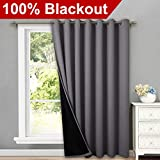 NICETOWN Total Shade Patio Door Curtain, Heavy-Duty Full Light Shading Sliding Door Drape Room Divider Curtain Screen Partitions, Vertical Blinds for Window(1 Panels, 100' Wide x 84' Long, Gray