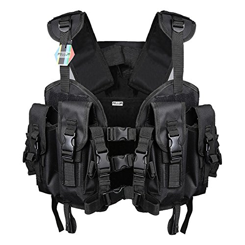 Swat Tactical Vest Costume (Pellor Hunting Military Airsoft Seal Modular Load Swat Assault Tactical Vest Free Size For Men & Women (Black))