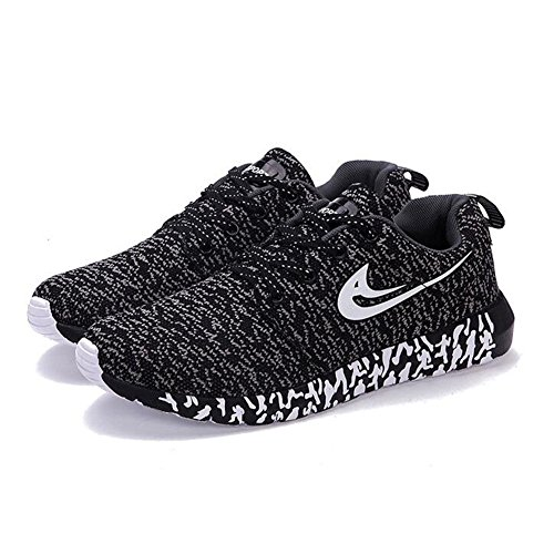 DeLamode Men Knitted Mesh Sport Light Shoes Casual Real Life Lace Colorful Damping Sneakers Black