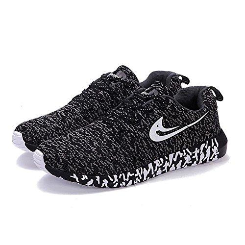 Delamode Hommes Tricot Maille Sport Chaussures Légères Casual Real Life Lace Coloré Amortissement Sneakers Noir