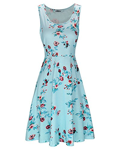 eeveless Summer Casual Floral Dress(Floral003,S) (Sleeveless Flare Dress)