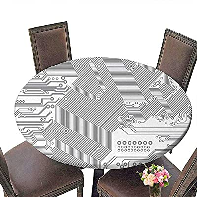 "Cheery-Home RoundTable Cloth (Elastic Edge) Suitable for All Occasions, (29.5"" Round) Digital Computer Motherboard Electronic Hardware Technical Display Futuristic Plan Design Grey White."