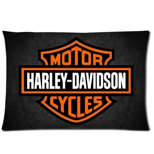 Chetery Fashion Harley Davidson Logo Printed Best Gifts Decorate Pillowcase Custom Pillowcase Soft Pillow Case Zippered Pillow Case Cover in Roomy Size20*30 inches(Two side) Fashion Design - Harley Bedding