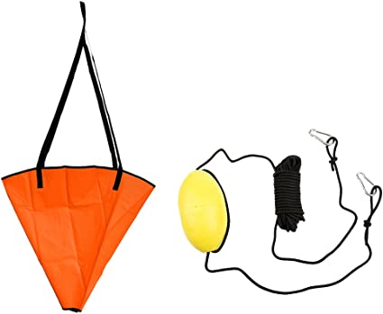 Clip with Open Swim Buoy 30ft//9.1 Meters Drift Anchor EVA Buoy Tow Line