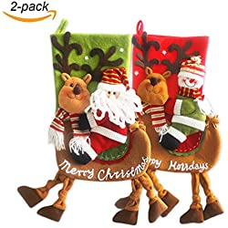 "VentoMarea 2 Pcs Set Christmas Stockings for Kids 23"" Cute Plush 3D Classic Large Toys Stockings with Elk's Legs Christmas Party Decorations"