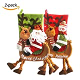 VentoMarea 2 Pcs Set Christmas Stockings for Kids 23'' Cute Plush 3D Classic Large Toys Stockings with Elk's Legs Christmas Party Decorations