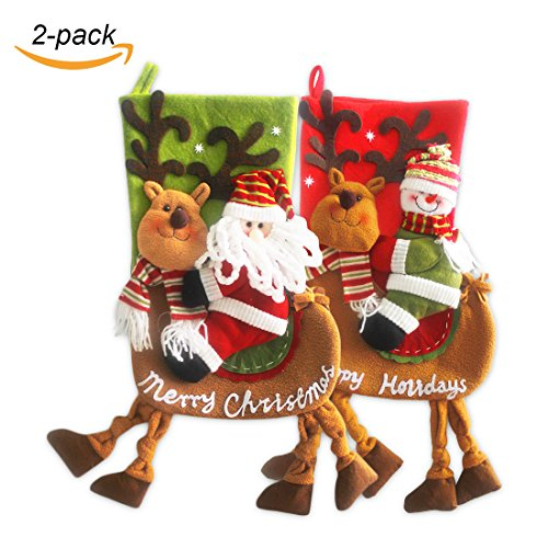 """VentoMarea 2 Pcs Set Christmas Stockings for Kids 23"""" Cute Plush 3D Classic Large Toys Stockings with Elk's Legs Christmas Party Decorations"""