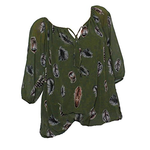 WANQUIY Women Half Sleeve Summer Print Feather T Shirt Fashion Casual Blouse Tops V-Neck Shirt Army Green
