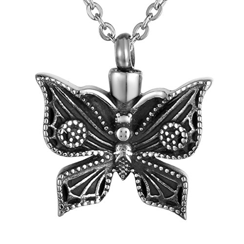 Valyria Cremation Jewelry Flying Butterfly Urn Pendant Keepsake Memorial Necklace (Black Peace ()