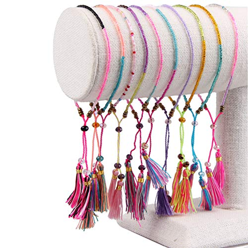 KELITCH Bohemia Friendship Bracelet Tassels Multicoloured Beaded Bracelets New Women Charm Bracelets 3 Pcs (Black)