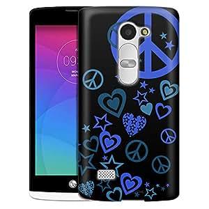LG Tribute 2 Case, Slim Fit Snap On Cover by Trek Blue Love Peace Stars on Black Case