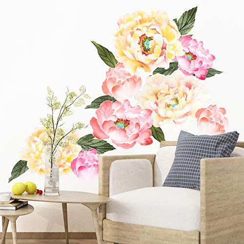 HaokHome W-10705 Peony Flowers Wall Decal Flower Wall Sticker Floral for Girls Bedroom Living Room Nursery Decor (Stickers Floral Wall)