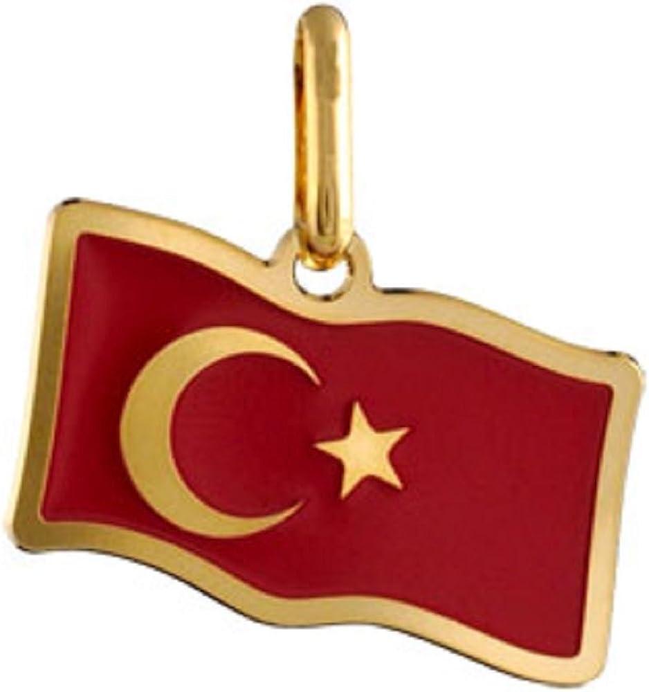 FranceBijoux-Colgante país, diseño de bandera de turquía, chapado en oro-nuevo