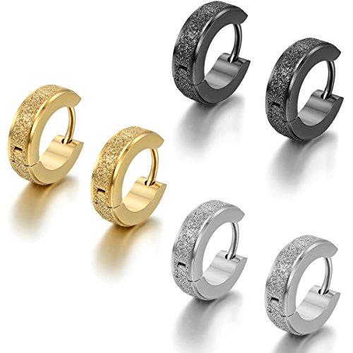 Flongo Men's Classic 6PCS Stainless Steel Matte Hoop Huggie Stud Earrings, Polished Finish Edge Hoop Huggy Earrings for Men Women, Christmas Valentine Gift Hinged Hoop Earrings