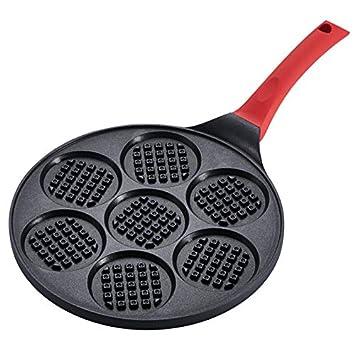 Sartenes Onlycook Sartén para el desayuno de siete agujeros Maifan Stone Bandeja para hacer gofres porosa