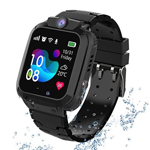 Kindersmartwatch waterdicht, GPS tracker touchscreen Kid Smart Watch Phone voor jongens en meisjes met SOS Game-camera…