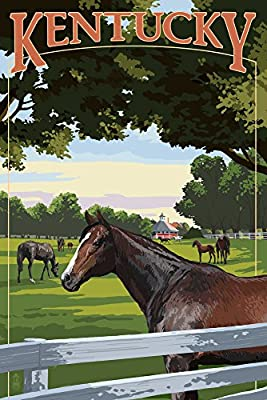 Kentucky - Thoroughbred Horses Farm Scene (9x12 Collectible Art Print, Wall Decor Travel Poster)