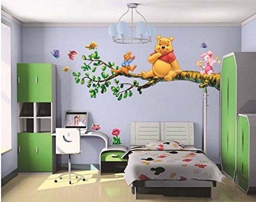 Winnie The Pooh Flowers Wall Decals PVC Removable Room Sticker Kids Nursery (Winnie The Pooh Height Chart)