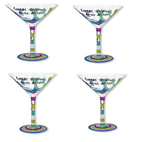 Glass Martini Glasses Great Friends Drink Alike - Set of 4 Fun Handpainted Party Glasses