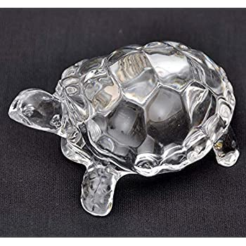 Petrichor Feng Shui Craft Original Clear Crystal Turtle for Peace & Prosperity Positive Energy Decor & Gifts ((Small))