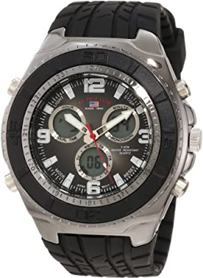 U.S. Polo Assn. Sport Men's US9024 Black Textured Strap Analog Digital Watch
