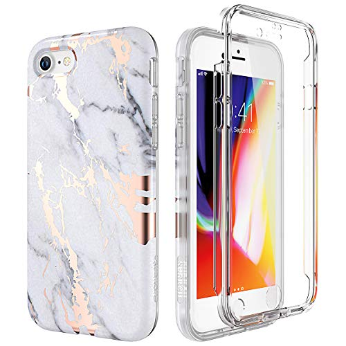 SURITCH Marble iPhone 8 Case/iPhone 7 Case, [Built-in Screen Protector] Full-Body Protection Hard PC Bumper + Glossy Soft TPU Rubber Gel Shockproof Cover Compatible with Apple 7/8- -