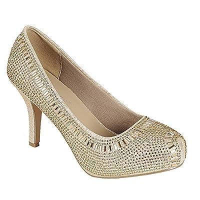 Cambridge Select Women's Crystal Glitter Closed Toe High Heel Dress Pump | Shoes