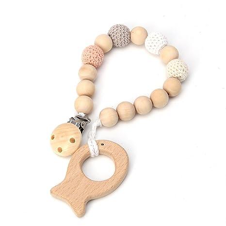Baby Chupete con madera colgante Natural Madera Infantil Enfermedades kautabak Infant Toy Cm