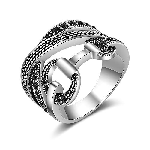 Mytys Criss Cross Rings for Women Retro Silver Black Crystal Belt Design Band Ring