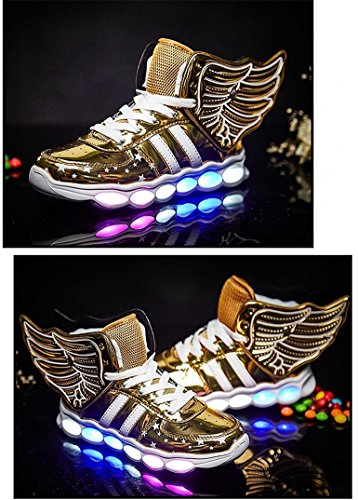 c70cdc84df4fc5 Red Silver Gold Light Up Shoes with Wings for Kids - iLED Shoes