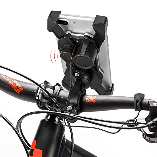 Mopoin Bike Phone Mount Holder,Anti Shake and Stable 360° Rotation Bicycle Phone Mount,Universal Motorcycle Handlebar Mount for All Cell Phones & Bikes with Horn ()