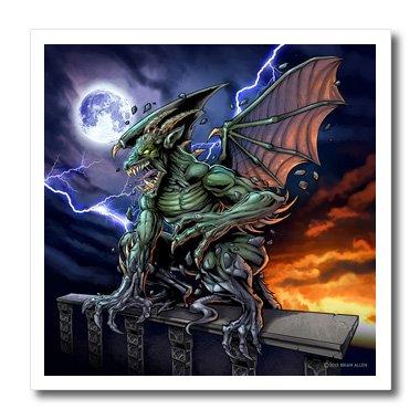 3D Rose Gargoyle Sitting on a Pedestal Lighting and the Moon Iron on Heat Transfer, 10 x 10, (Gargoyle Lighting)