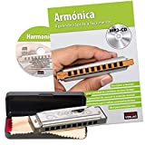 CASCHA Beginner\'s Harmonica Set with Spanish School - Learn to Play Blues Harmonica - Includes Case, Care Cloth and Instruction Book - C Major Harmonica - Silver