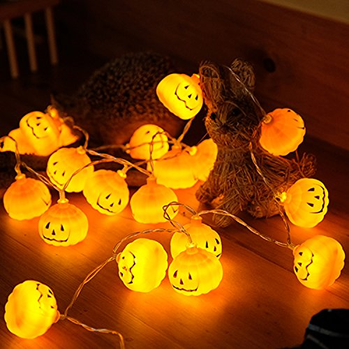 Christmas Decorations Lights,Qualife Cute Pumpkin String Lights for Kids Bedroom,Christmas Party Supplies for Tree Home Outdoor Indoor Halloween Garden,Battery Operated 6.6ft 20 LED,Warm White.]()