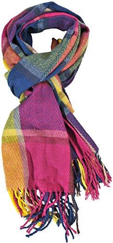 Womens Big Grid Winter Warm Lattice Large Scarf Plaid Blanket Long Shawl Wrap (One Size, KB18)