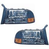 Dodge Dakota/Durango Replacement Headlight Assembly (Diamond Design, Black) - 1-Pair