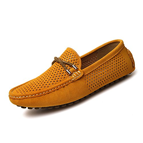 Suede Flat Summer on Yellow Loafers Hole Breathable Driving Shoes Moccasin Slip Men's Air SUNROLAN XqY1A1