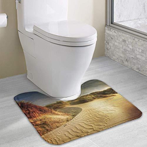 Beauregar Dunes Contour Bath Rugs,U-Shaped Bath Mats,Soft Memory Foam Bathroom Carpet,Nonslip Toilet Floor Mat 19.2″x15.7″