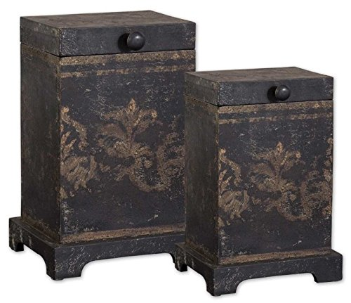 UPC 792977193204, Uttermost Melani Decorative Boxes in Aged Black (Set of 2)