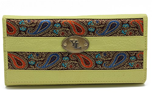 yl-womens-genuine-leather-clutch-wallet-purse-hipster-embroidery-lace-yl-01-lime