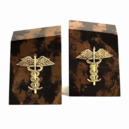 KensingtonRow Home Collection Bookends - Caduceus Tiger Eye Marble Bookends - Medical - ()