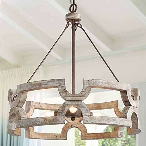 KSANA Farmhouse Chandelier, Wood Drum Chandeliers for Dining Rooms, Living Room, Hand-Painted White Finish, W19.5