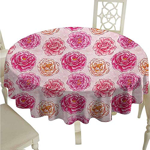 duommhome Floral Durable Tablecloth Romantic Rose Petals Fragrance Bouquets Love Classic Blooms Graphic Easy Care D47 Magenta Pale Pink Coral