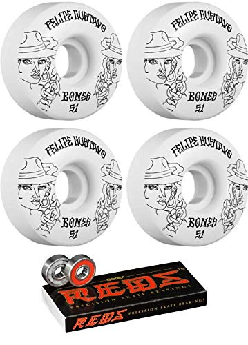 Bones Wheels 51mm Felipe Gustavo Pro STF Chica White/Black Skateboard Wheels - 83b with Bones Bearings - 8mm Bones Reds Precision Skate Rated Skateboard Bearings - Bundle of 2 Items