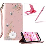 Diamond Leather Case for Samsung Galaxy Core Prime G360,Rose Gold Strap Wallet Cover for Samsung Galaxy Core Prime G360,Herzzer Luxury 3D Decor Design Stand Glitter Magnetic Smart Leather Case with Soft Inner