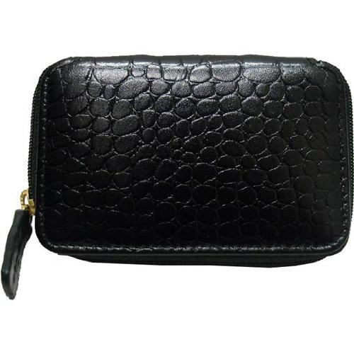(Winn International 9461 Harness Cowhide Leather Bi-Fold Wallet Color: Black Faux Croc)