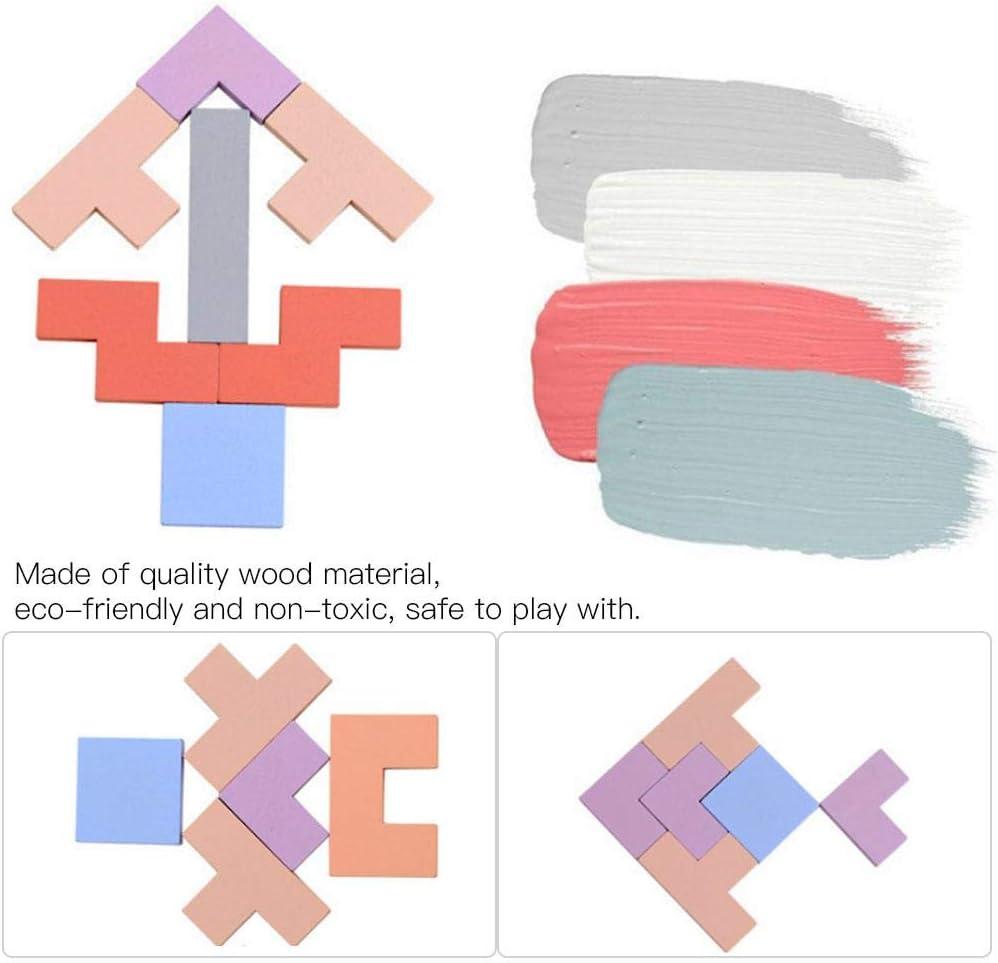Puzzle Tetris Tangram en Bois 3-en-1 B/éb/é Enfants /Éducatifs en Bois Jouet Le Jigsaw Tetris Puzzle Cerveau Teaser g/éom/étriques Jouets pour Enfants Prime Day