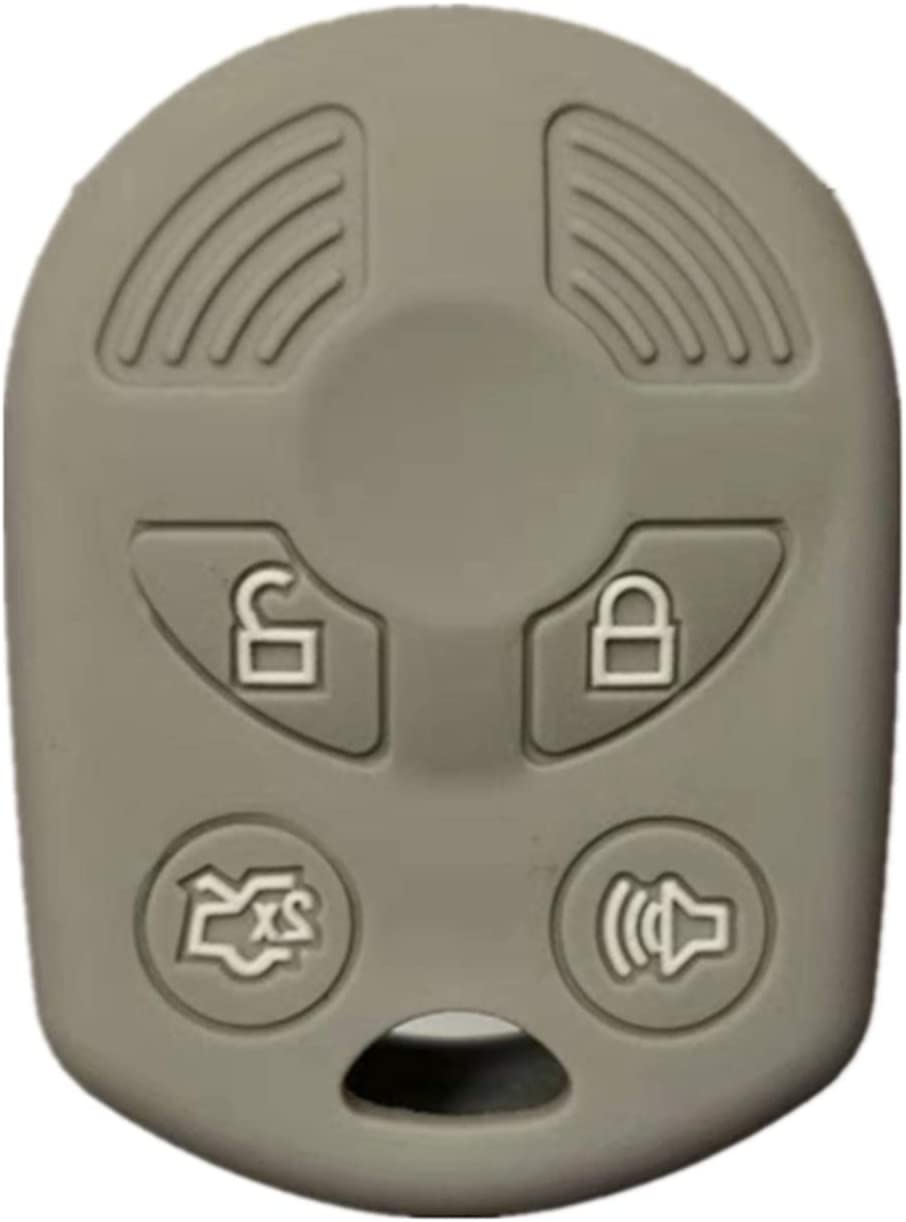 RUNZUIE Silicone Keyless Entry Remote Key Fob Cover Case Protector Fit for Ford Escape Explorer Mustang Transit Fusion Focus Lincoln Zephyr Mercury Grand Marquis Gray 4 Buttons